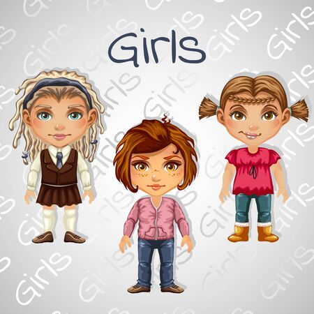 light skin: Set of tree images of girls for animation for your design needs Illustration