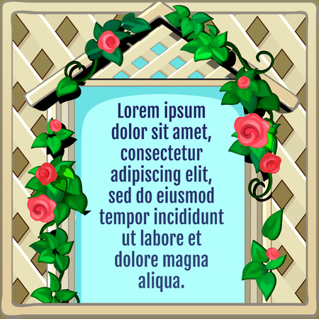 natural arch: Wooden frame decorated with roses, greeting card