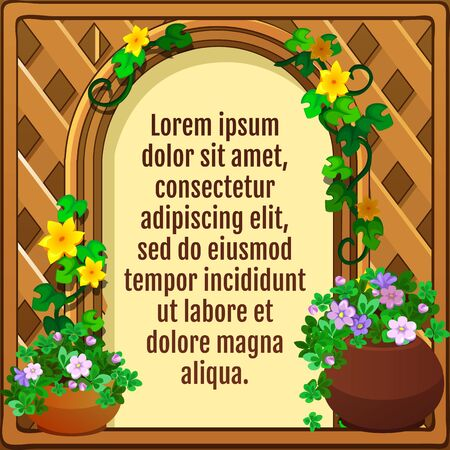 indoor bud: Wooden frame decorated flowers, greeting card Illustration