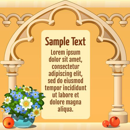 Wooden arch with sample text, stylish card in beige