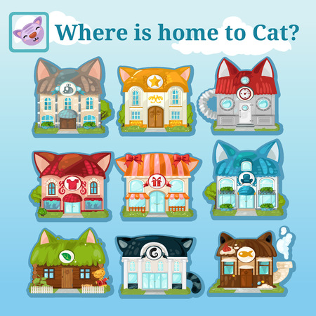 domestic animals: Nine icons of various cat houses on a natural background