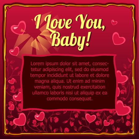 rojo oscuro: Valentines day card with space for your text on a dark red background