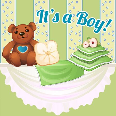 home birth: Decor baby cot in green color with pillows and soft bear