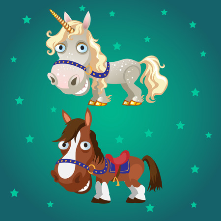western saddle: Cartoon image of the horse and the unicorn on a star green background Illustration
