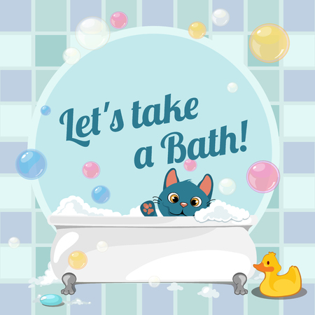 funny image: Cartoon illustration of a kitten taking a bath, funny image