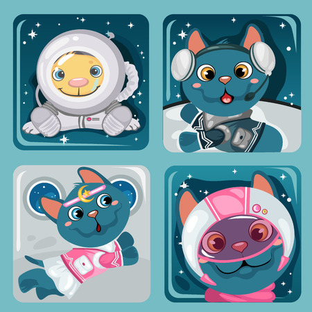 astronauts: Four images of kitten astronauts, cute vector collection