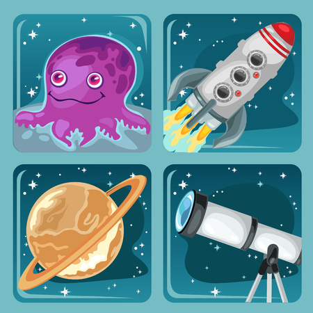 Four images of space objects, toon collection