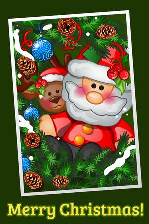 fir cone: Vintage greeting postcard with Santa Claus and deer