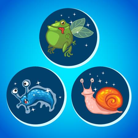 outlander: Three fantastic animals, three vector icons, blue background