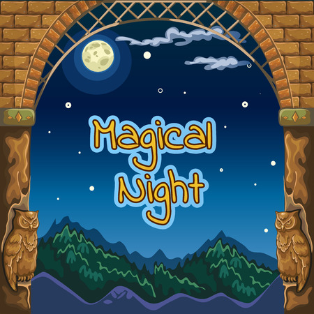 Magical night card with ancient frame and sculptures of owls
