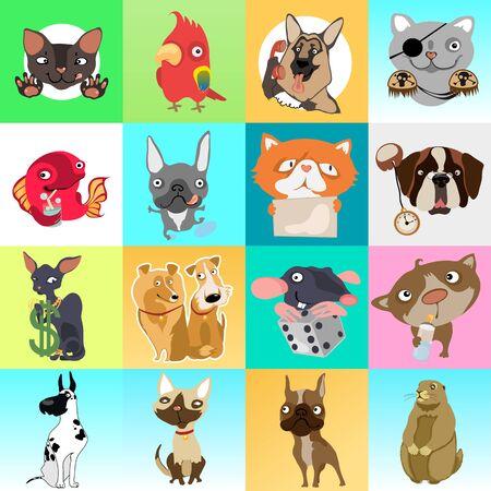 rata caricatura: Gran conjunto de iconos con diferentes animales, imágenes de dibujos animados 16