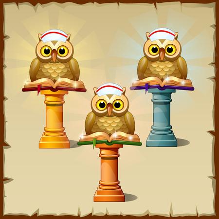 lectern: Three golden owls with books sitting on the podium Illustration