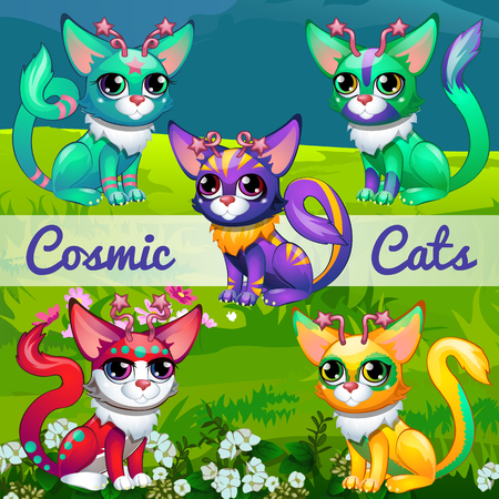 catlike: Unusual illustration with cosmic cats on the background of a lawn, set of five cats