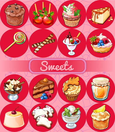 confiture: Great set of sweets and pastries, delicious desserts, 16 icons Illustration