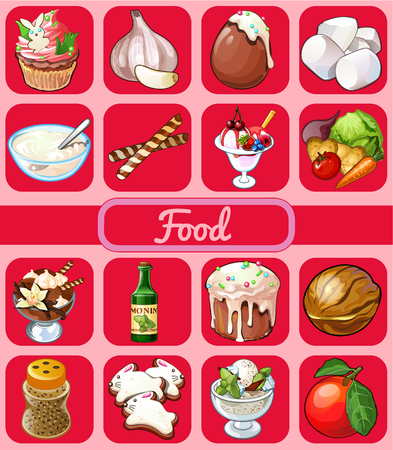 souffle: Big food set of 16 icons on a pink background, desserts and vegetables