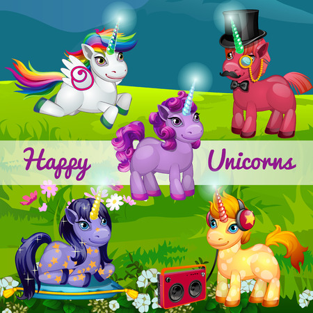 unicorn: Unusual cartoon unicorns in a meadow, set of five characters in the meadow Illustration