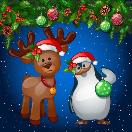 hi hat: Christmas greeting card with penguin and a reindeer on the decoration background