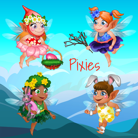 pixy: Four young flying fairies with different accessories and objects