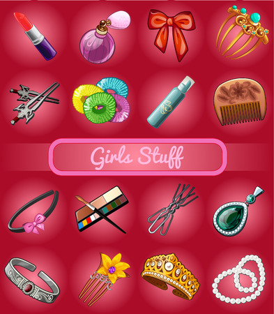 bead jewelry: Big set of girl stuff, jewelry, cosmetics and hair accessories