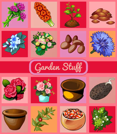 garden stuff: Garden stuff, flowers, pots and seeds, 16 vector icons Illustration