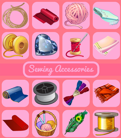 sewing pattern: Set of items for mending clothes, 16 icons for your design needs Illustration