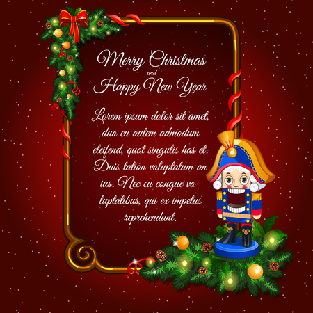 Postcard happy New Year and merry Christmas with soldier toy and vertical frame for text on a red background