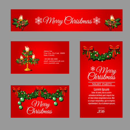 complimentary: Set of red cards different sizes and shapes with Christmas decor for your business Illustration