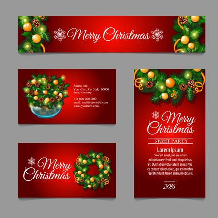 complimentary: Set of Christmas cards with fir tree branches and balls