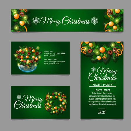 complimentary: Four green posrcard with Christmas decor with sample text for your design needs