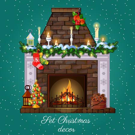 Postcard Christmas fireplace burning and Christmas decor