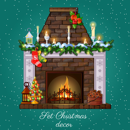 Postcard Christmas fireplace burning and Christmas decor Imagens - 48005850