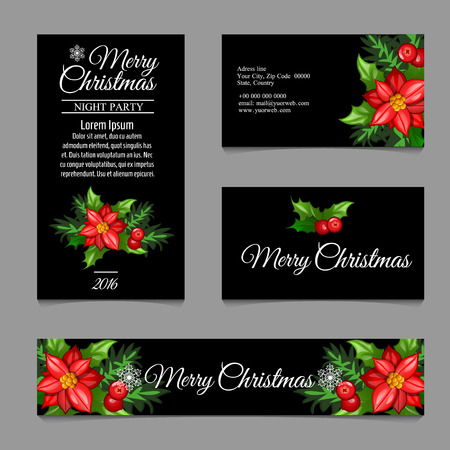 complimentary: Four business card with red flowers on a black background Illustration