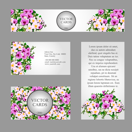 champ de fleurs: Four cards with white and pink field flowers for your design needs Illustration