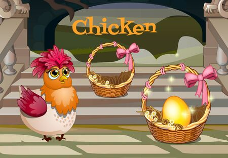 passover and easter chick: Chicken with the golden egg, two baskets on the porch with steps