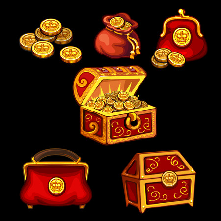 Set of boxes, chests, bags and wallets for gold coins