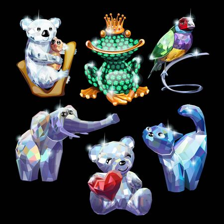frog queen: Set of animals made of precious stones, brilliant figure on a black background Illustration