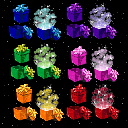 occasions: Set of colored magic boxes for all occasions, open and closed boxes