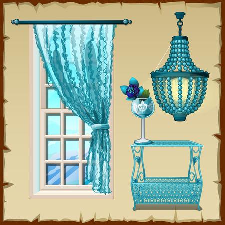 arredamento classico: Set per l'interno, finestre, lampadari e tavolo in blu