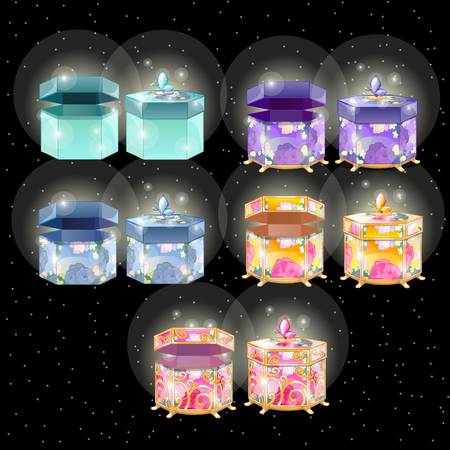 brilliancy: Glowing magic gift box with surprise, collection of five different box Illustration