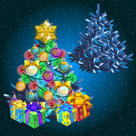 adorn: Decorated Christmas tree with gifts before the holiday and after