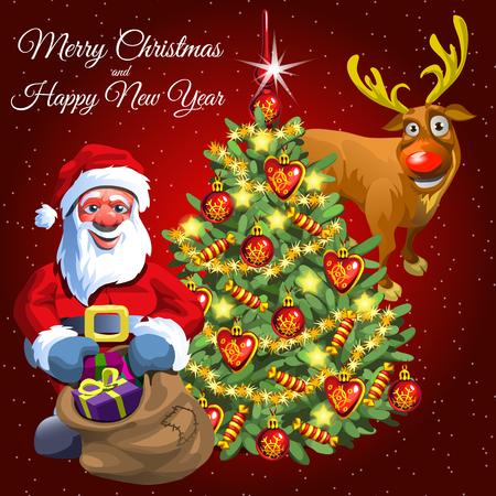 decorated christmas tree: Christmas card Santa with gift bag, decorated Christmas tree and funny deer Illustration