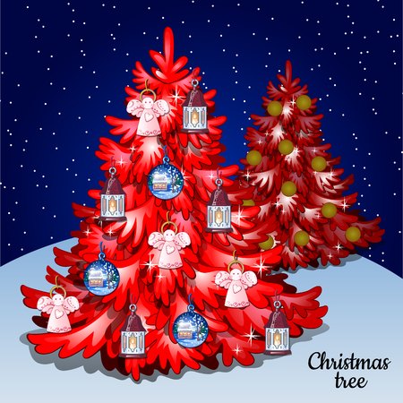 cielo estrellado: Red Christmas tree with toys on a natural background and a starry sky