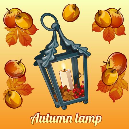 candle holder: Autumn vector set of candle holder, leaves and apples Illustration
