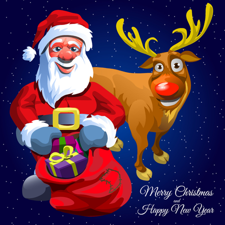 gift bag: Santa Claus with gift bag and his assistant funny Christmas deer