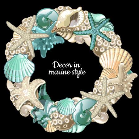 chaplet: set of ocean decor wreath on a black background