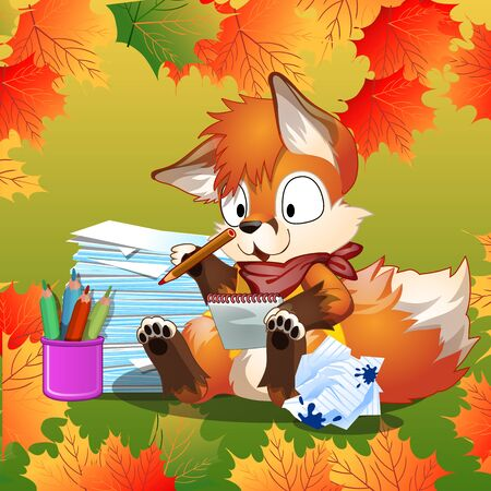Little Fox enthusiastically doing his school homework Illustration