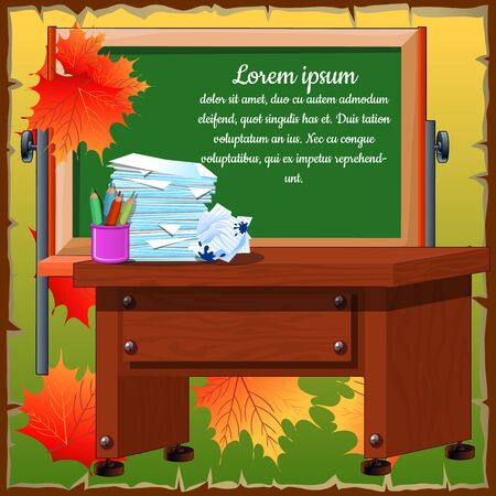 career entry: Autumn atmosphere of the classroom with desk and blackboard