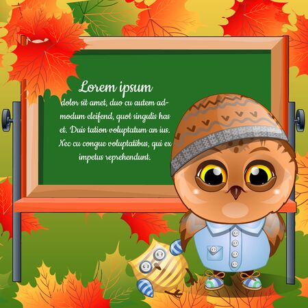 boy child: Owlet was going to first grade with his toy Illustration
