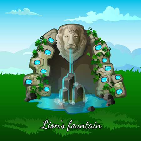 garden pond: Fairy fountain with a lion head on nature background