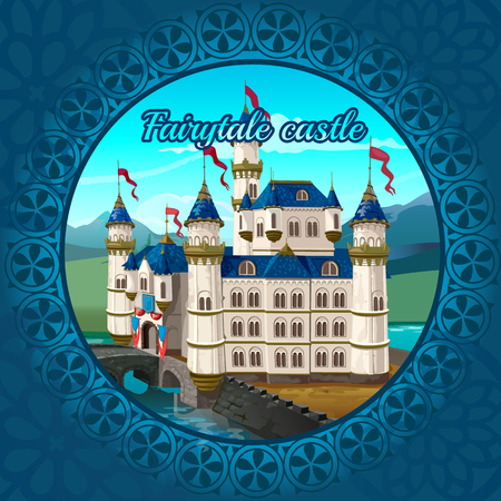 castle: Fairytale medieval castle frame on a nature background
